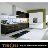 White Kitchen and Black Island Design Kitchen Furniture (AP096)