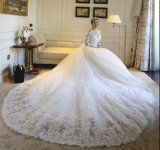 2017 Lace Bridal Ball Gowns 3/4 Long Sleeves Stock Wedding Dresses Z2009
