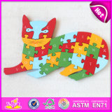 Personalized Cat Design High Quality Wooden Alphabet Puzzle Games for Kids W14I021