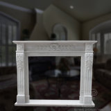 Natural White Marble Fireplace with High Carving Quality