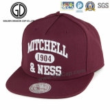 2015 Classic Promotional Hot Red Cotton Snapback Cap with Big Embroidery Logo