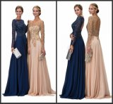 Navy Champagne Party Prom Gown Backless Chiffon Evening Dresses G12096
