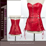 Sexy Women Leather Bodysuit with Skirt Lingerie Corset (TA9192)