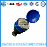 Single-Jet Dry Dial Type Water Meter in Black Plastic Body