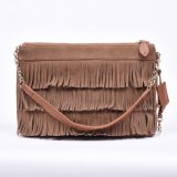 Nubuck Leather and Cow Leather Two Layers, Thin Twins Tassel Women Should Bag