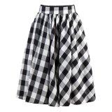OEM Supply Black White Plaid MIDI Ruffle Skirt for Women