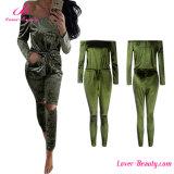 Fashion Green off Shoulder Romper Jumpsuit