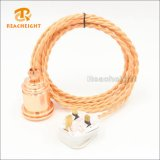 BS 3pin Plug Twisted Braided Lamp Power Cord Set
