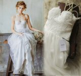 Casual Double Spaghetti Straps A-Line Outdoor Wedding Dress Full Length