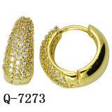 925 Silver Jewelry Yellow Gold Round Earrings with Zirconia.