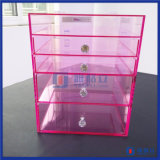 Hot Sale Custom Pink Color Acrylic Makeup Organizer with Drawers