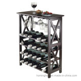 Basics Wood 24-Bottle Floor Wine Rack with Wine Glasses Rack