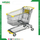 Powder Coated Supermarket Shopping Trolley with Curved Handle