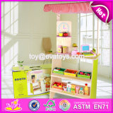 New Design Funny Pretend Play Wooden Kids Play Supermarket W10A061