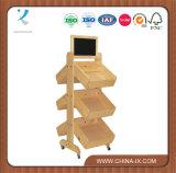 3 Tiered Wood Display Rack with 6 Angled Bins