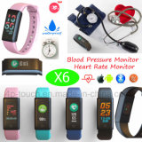 0.96 TFT Screen Waterproof Bluetooth Smart Bracelet with Blood Pressure X6
