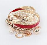 Fashion Jewelry Pearl Pierced Multilayer Beads Bangle Charm Bracelet