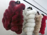 Colorful Real Silver Fox Fur Long Vest for Ladies