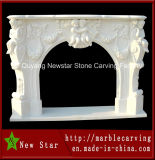 White Marble Fireplace Surround for Home Decoration