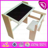 Hot Sell Multifunctional Wooden Table and Chair with Easel, Children Wooden Study Table Chair Set with Drawing Board W08g154b