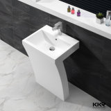 White Artificial Stone Pedestal Bathroom Wash Basin, Freestanding Sink