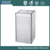 Outdoor Square Plaza Stainless Steel Trash Bin with Swing Lid