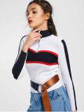 White Contrasting Half Zip Mock Neck Sweater