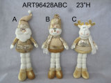 Standing Santa, Snowman and Reindeer Christmas Decoration Gift-3asst.