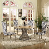 Classic Glass Top Rotating Stainless Steel Dining Table Set