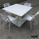 Kingkonree White Square Restaurant Solid Surface Dining Table