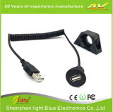 USB 2.0 Male to Female Coiled Cable for Motorcycle