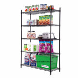 5 Tier Freestanding Black Epoxy Coated Metal Storage Wire Shelving Unit