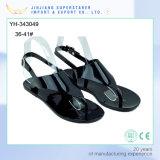 Simple Women Ladies Flat Clip Toe Black PVC Sandal