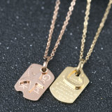 Custom Design Fashion Jewelry Personalized Letter Square Necklace Pendant