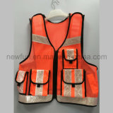 Special Design Mesh Reflective Safety Vest with Zip and Pockets