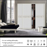 European Style PU Leather Sliding Wooden Bedroom Wardrobe