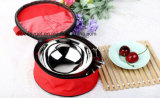 Stainless Steel Folding Cutlery Sets, Travel Picnic Lunch Bowl Spoon Chopsticks Camping Outdoor Tableware with Zipper Case Holder, for Family, Lovers