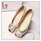 New Flat Women Shoes with Soft Bottom woman Anti-Slip Metal Buckle Ctystal