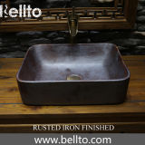 Antique porcelain vessel sinks with rustes iron surface treatment (3070B-R)