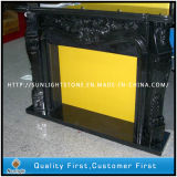 Carved Black Marble Stone Fireplace for Indoor