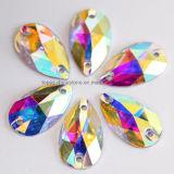 Silver Foil Rhinestone Crystal Ab Flat Back Sew on Rhinestone (SW-tear drop 17*28mm)