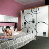 Oppein Modern Abstract Drawing Sliding Wood Wardrobe (OPY08-LD)