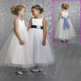 Flower Girl Dress Drop Shipping Bow Sash Wedding Girl′s Dresses F60