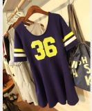OEM High Quality Women Monochrome Baseball Loose T-Shirt Dress