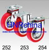 Plate Top Steel Hub Red PU Rigid Caster