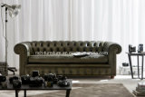 Chesterfield European Style Vintage Leather Sofa for Living Room
