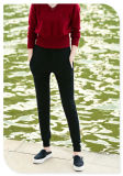 Pure Cashmere Knitting Casual Pants with Pockets and Elastic Waist Band for Ladies