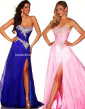Sweetheart Fashion Evening Gowns Beads Side Split Prom Party Dresses Z5021