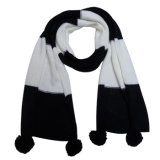 Lady Fashion Two Tone Acrylic Knitted Scarf with POM-Poms (YKY4172)