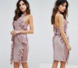 Couture Diamond Mesh Ruffle Bandage Dress